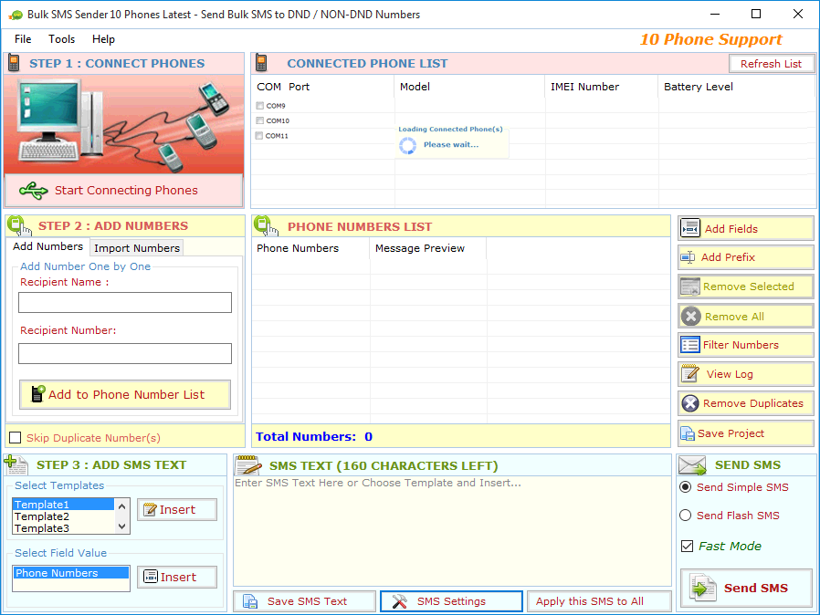 10 Phones Support Utility Bulk SMS from PC