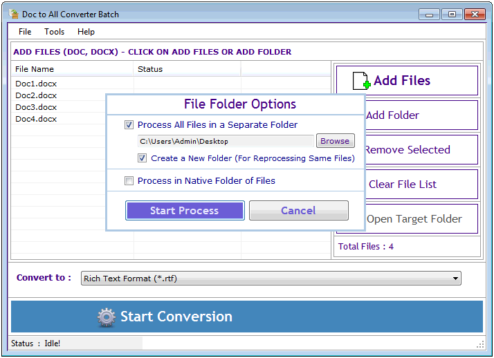 Doc to All Converter Batch Screen shot