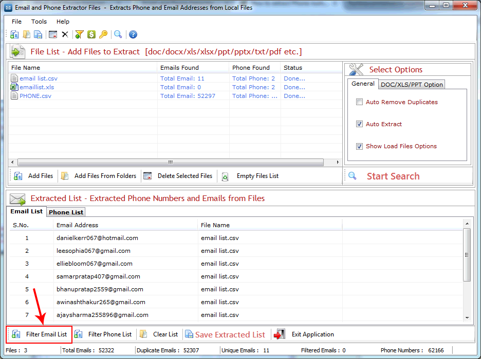 Email and Phone Extractor Files Screenshot