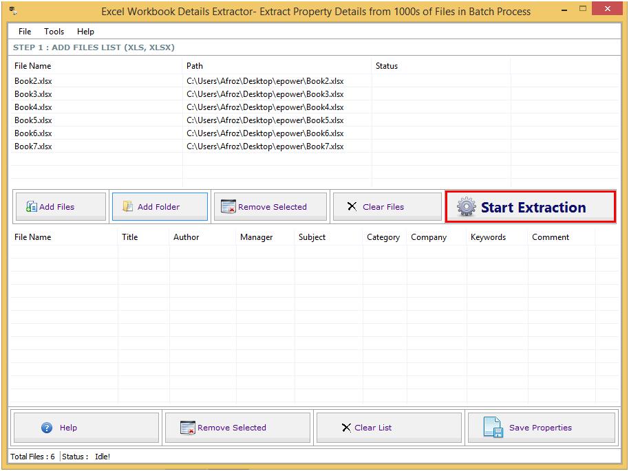 Excel Workbook Details Extractor full screenshot