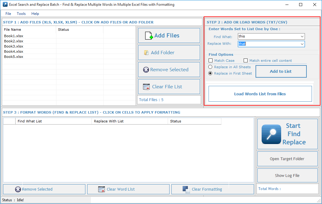 Windows 7 Excel Search and Replace Batch 3.1.1.22 full