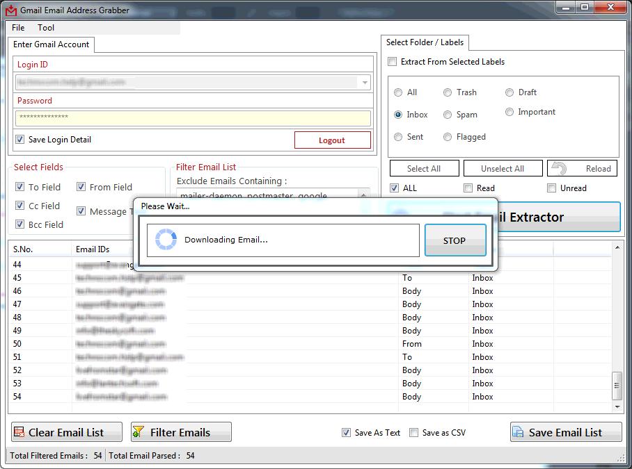 Gmail Email Address Grabber screenshot